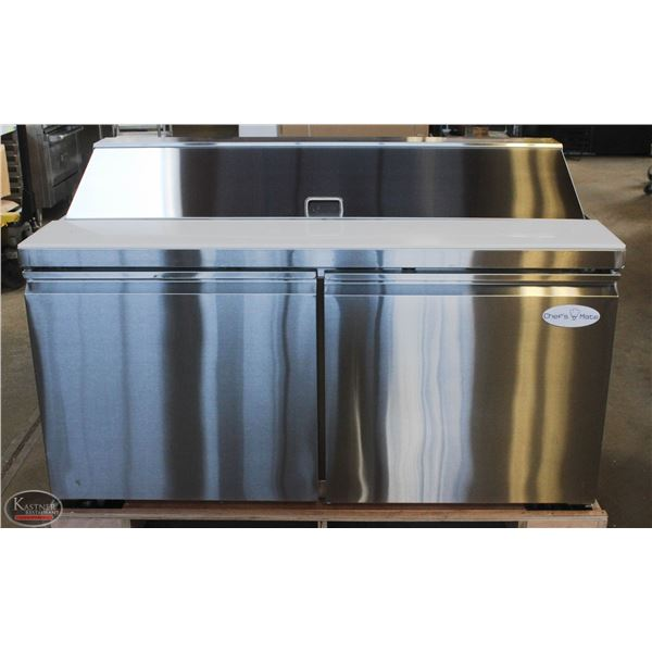 NEW 5' STAINLESS STEEL REFRIGERATED PREP TABLE