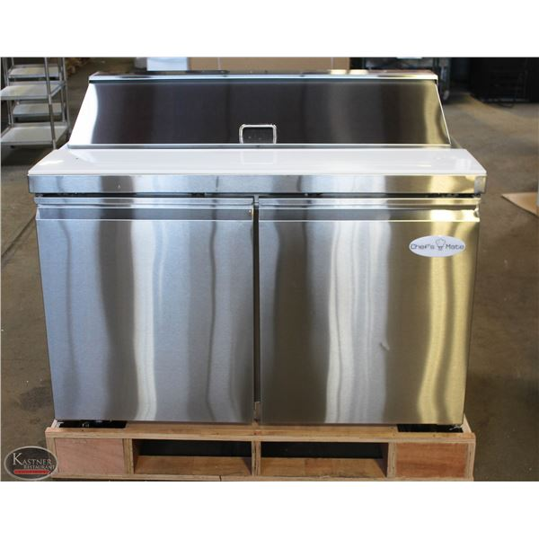 NEW 4' STAINLESS STEEL REFRIGERATED PREP TABLE
