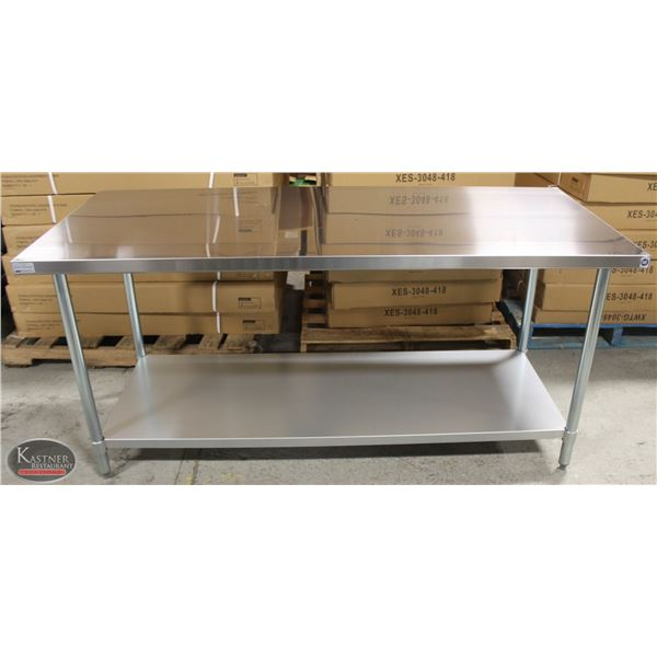 """NEW 30""""X72""""X34"""" STAINLESS STEEL WORKTABLE W/"""