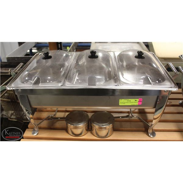 STAINLESS STEEL CHAFING DISH W/ 3 - 1/3 SIZE