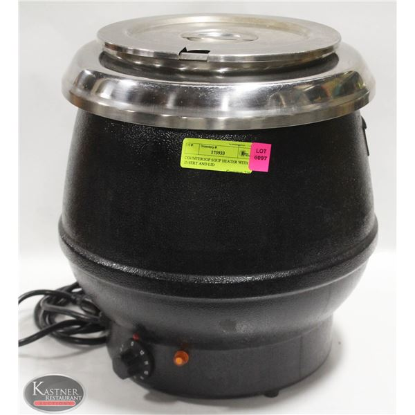 COUNTERTOP SOUP HEATER WITH INSERT AND LID