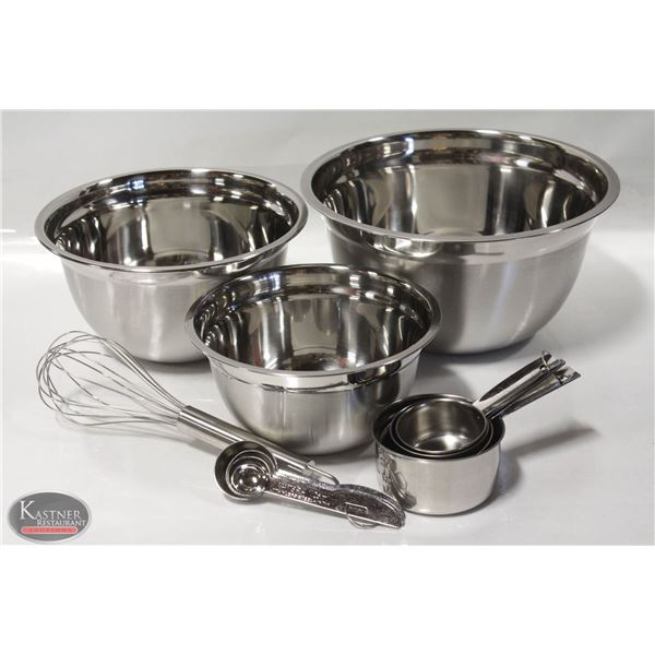 NEW 12 PIECE STAINLESS STEEL MIX & MEASURE SET