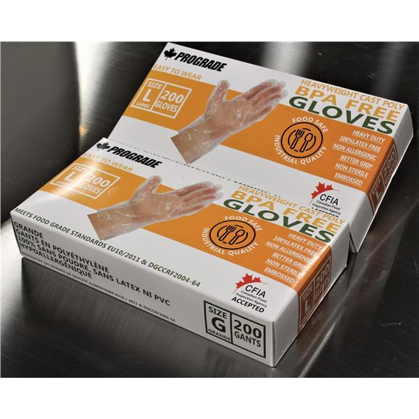 2 SEALED BOXES OF PROGRADE FOOD SAFE POLY GLOVES
