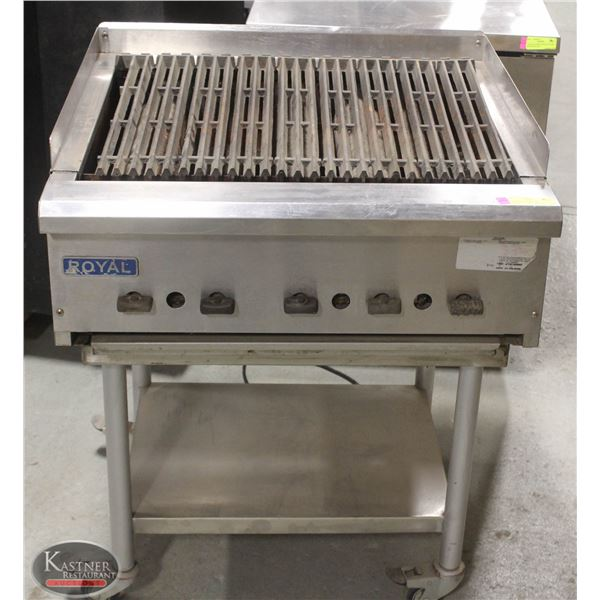 "ROYAL 24"" NATURAL GAS CHARBROILER, MOUNTED ON"