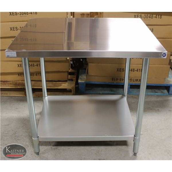 """NEW 30""""X36""""X34"""" STAINLESS STEEL WORKTABLE W/"""