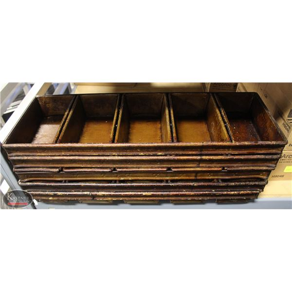 LOT OF FIVE STRAPPED 5 LOAF BAKING PANS