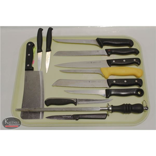 GROUP OF 10 HENCKELS KNIVES, FARBER CLEAVER &