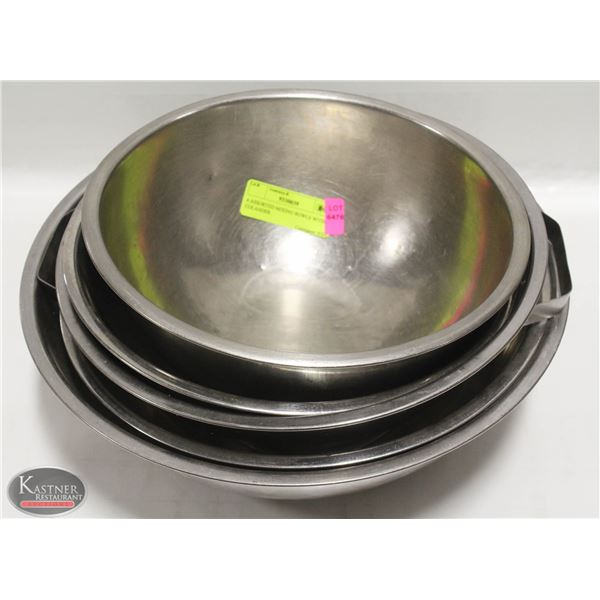 4 ASSORTED MIXING BOWLS WITH COLANDER
