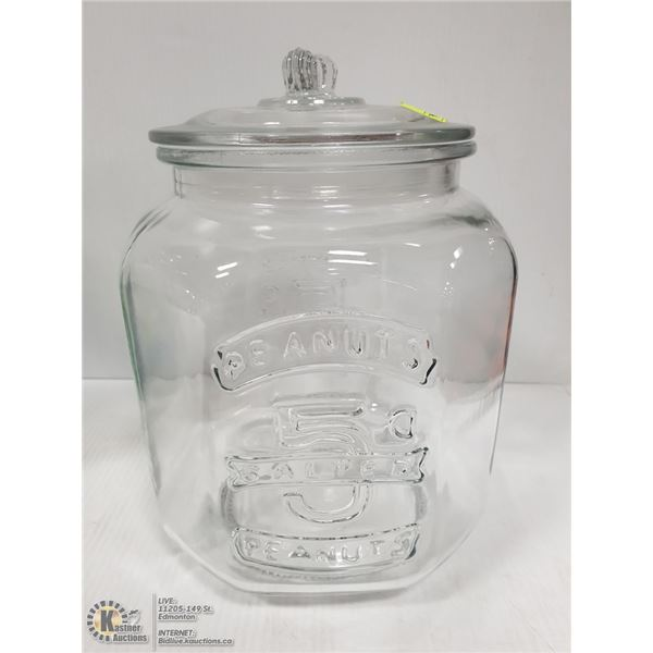 LARGE GLASS TRADITIONAL STORE DISPLAY PEANUT JAR