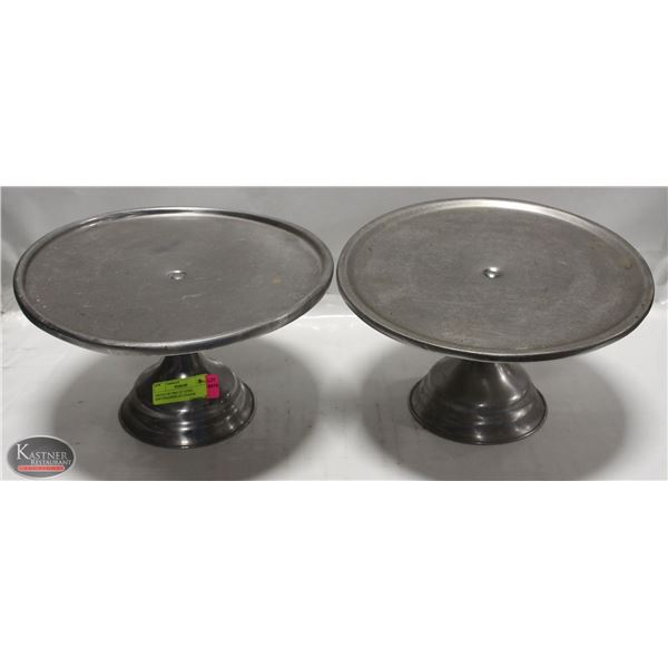 "GROUP OF TWO 12"" STEEL SERVING/DISPLAY STANDS"