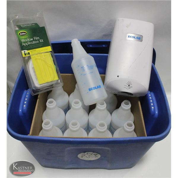 TOTE W/ CASE OF NEW ECOLAB BOTTLES (NO NOZZLE),