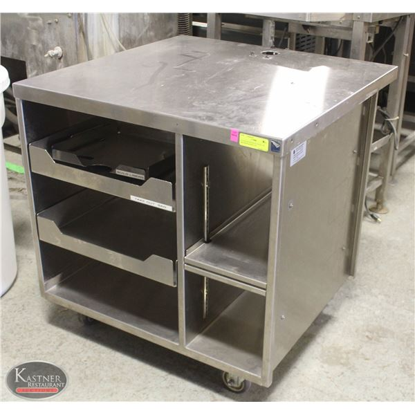 STAINLESS WHEELED STAND  /W DRAWERS & SHELVES