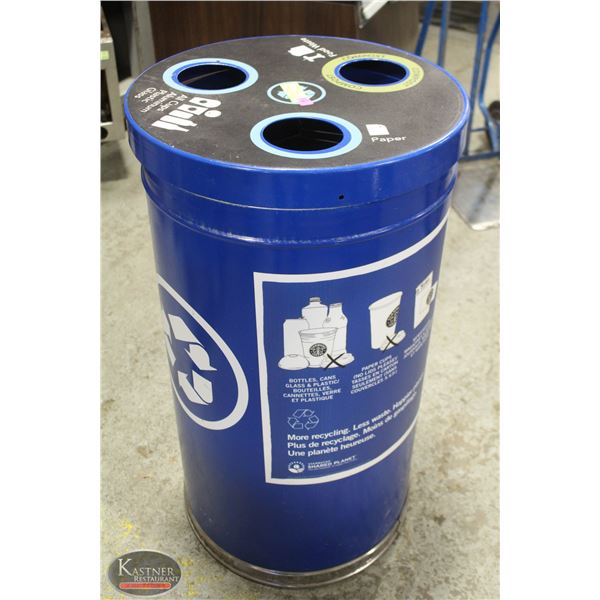 3 COMPARTMENT ROUND BLUE RECYCLING BIN CONTAINER