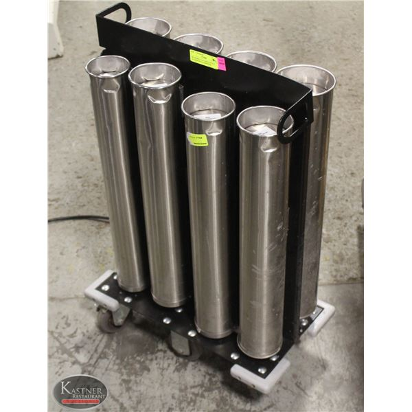 SPG MOBILE CUP CADDY WITH 8 ALUMINUM CUP DISPENSER