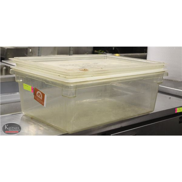 LARGE CLEAR PASTIC TOTE BOX W/ LID