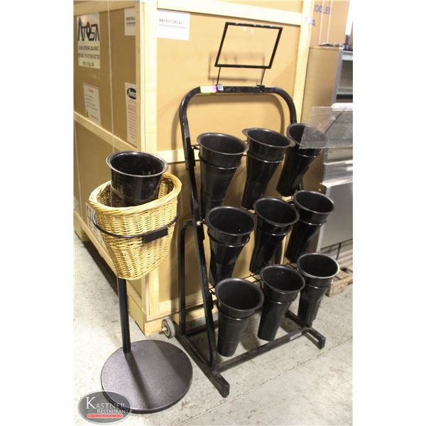 CUT FLOWERS DISPLAY RACK WITH 9 BUCKETS