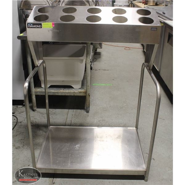 10 SLOT STAINLESS STEEL CUTLERY / UTENSIL STAND W/