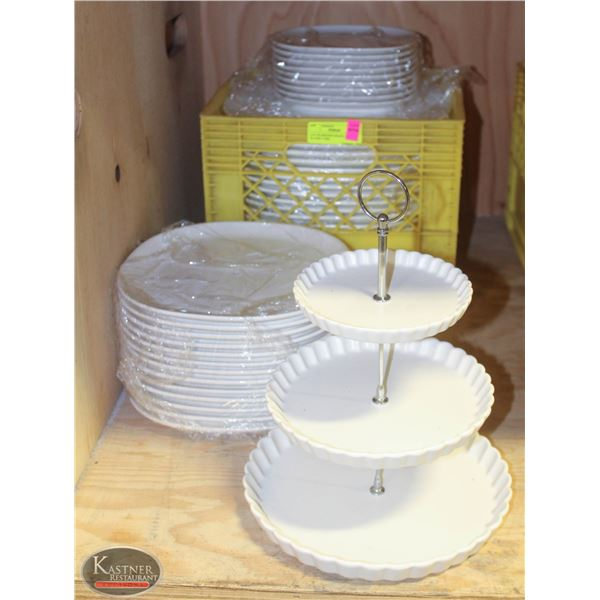 LOT OF SERVING SNACK DISPLAY PLATES 3 TIER