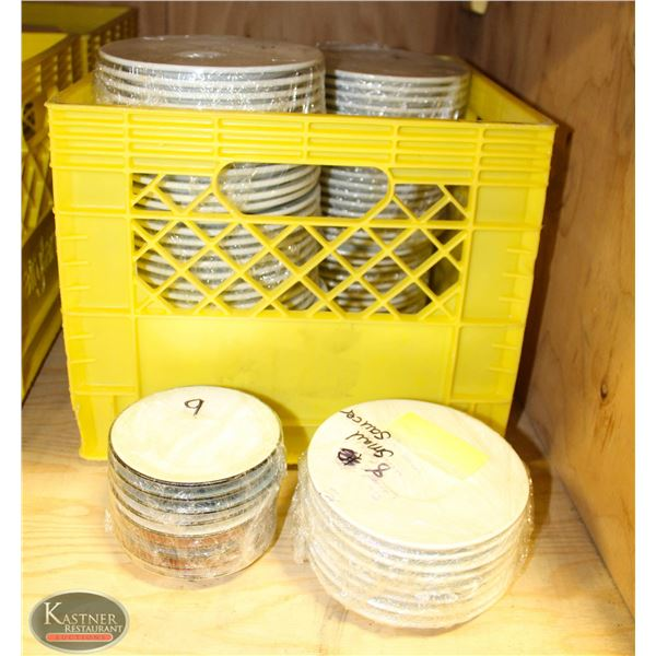 FIVE CRATES OF VARIOUS SIZED WHITE DISHES: