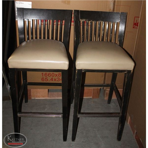 GROUP OF 7 PADDED LEATHERETTE BAR HEIGHT CHAIRS