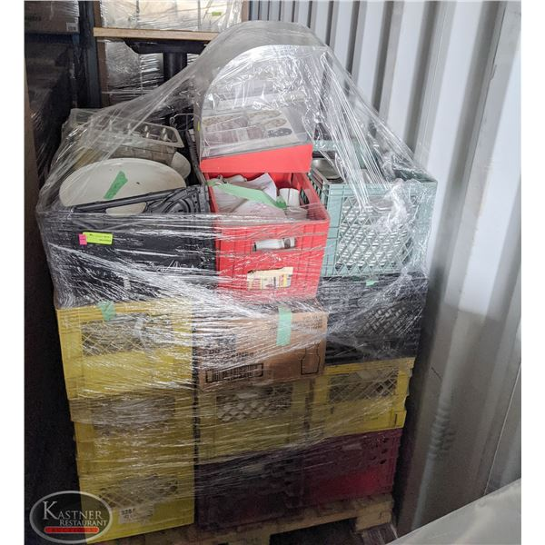 LARGE PALLET OF ASSORTED GLASSWARE W/ ACRYLIC