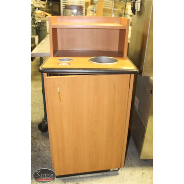 2' SQUARE WOODEN WASTE RECEPTACLE W/ TWO BINS
