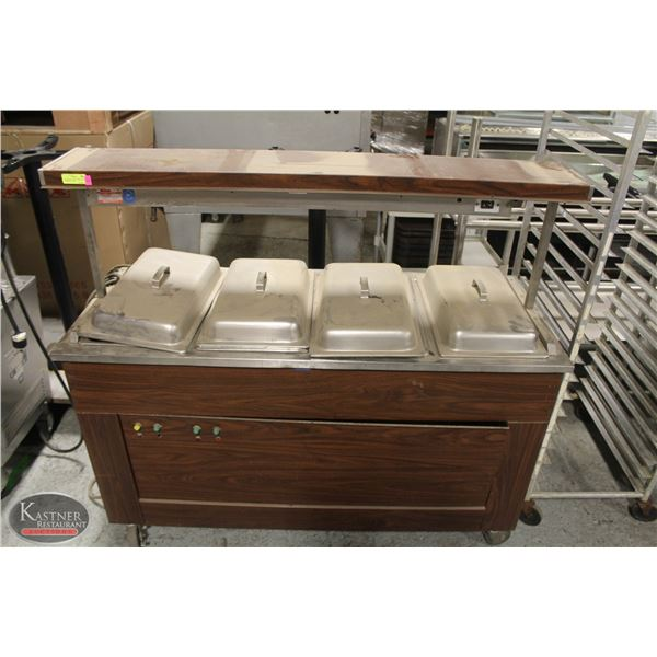 5' VOLLRATH 4-WELL BUFFET TABLE W/ INSERTS & LIDS