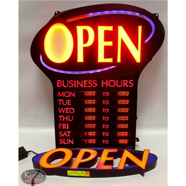 GROUP OF 2 ILLUMINATED OPEN SIGNS *AS IS