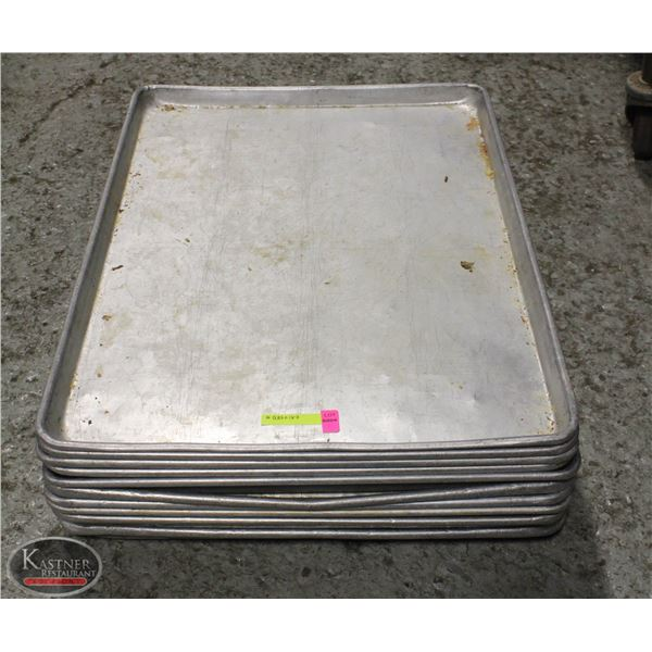 LOT OF 10 ALUMINIUM FULL SIZE BUN PANS