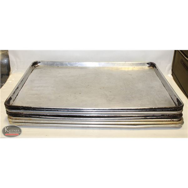 STACK OF 8 FULL SIZE ALUMINUM BUN PANS