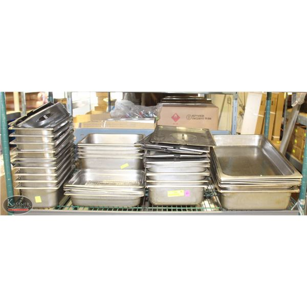 SHELF OF ASSORTED SIZE STAINLESS STEEL INSERTS