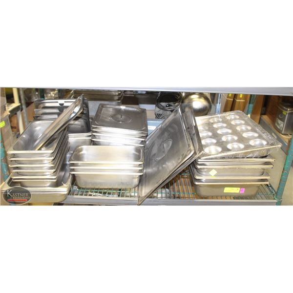 SHELF OF ASSORTED STAINLESS STEEL INSERTS