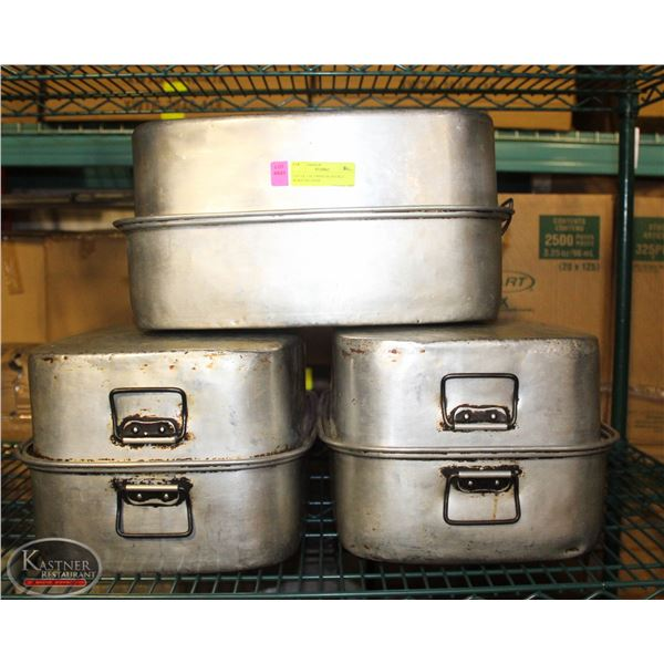 LOT OF 3 ALUMINIUM DOUBLE ROASTING PANS