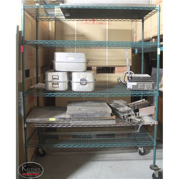 5' GREEN WIRE STORAGE RACK ON HD CASTORS - 4 TIER