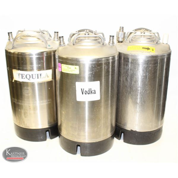 3 STAINLESS STEEL PRESSURE CONTAINERS- 3 GALLON