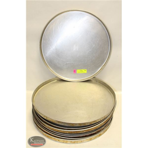 """LOT OF 8 EXTRA LARGE COMMERCIAL PIZZA PANS - 18"""""""