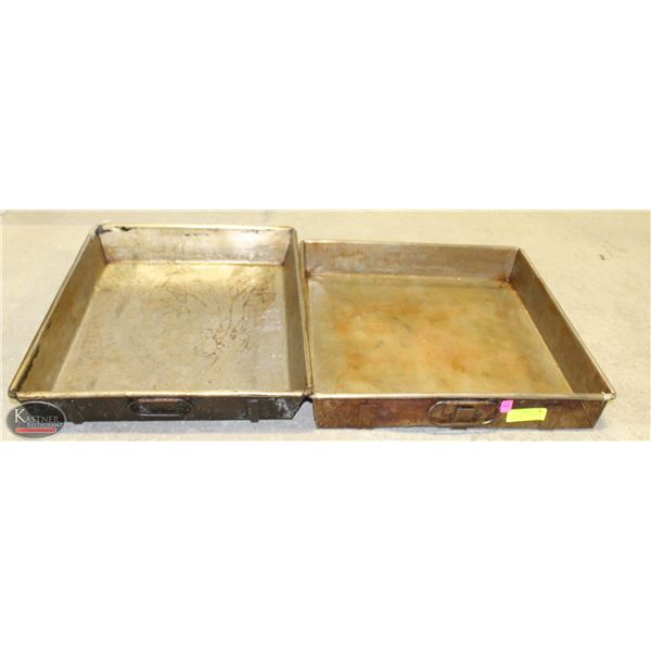 2 LARGE HD DUAL STRAPPED ROASTING PANS