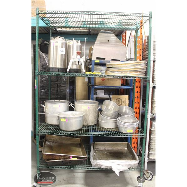 3' GREEN WIRE STORAGE RACK ON HD CASTORS - 4 TIER