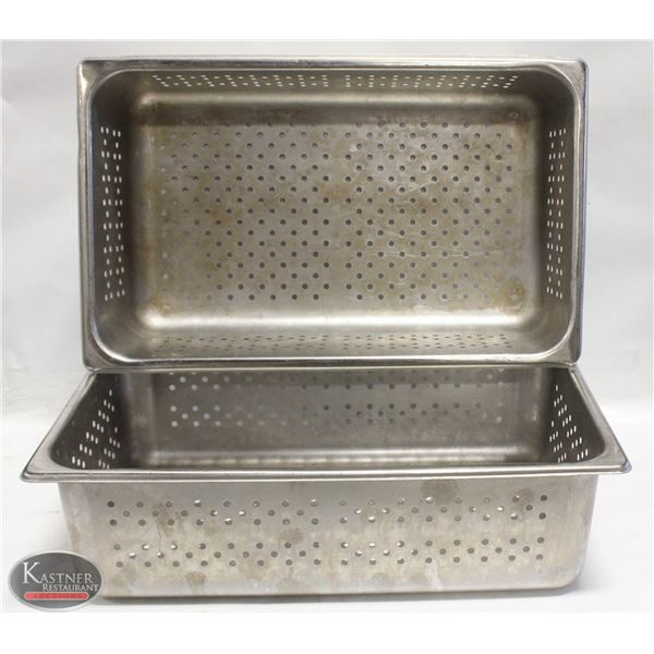"""TWO FULL SZ PERFORATED STAINLESS STEEL INSERTS 6"""""""