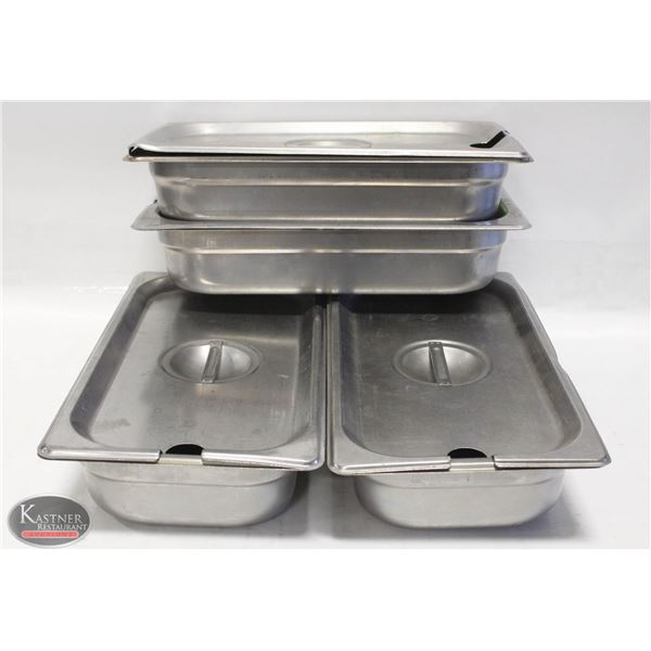 LOT FOUR 1/3 SZ STAINLESS STEEL INSERTS W/ LIDS-2""