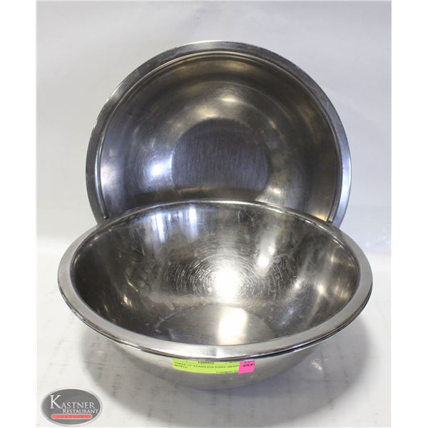 "THREE 12"" STAINLESS STEEL MIXING BOWLS"