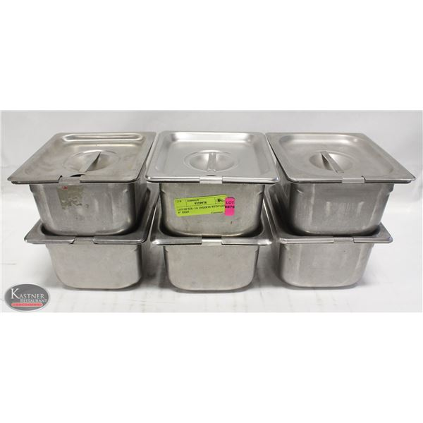 """LOT OF SIX- 1/6  INSERTS WITH LIDS 4""""  DEEP"""