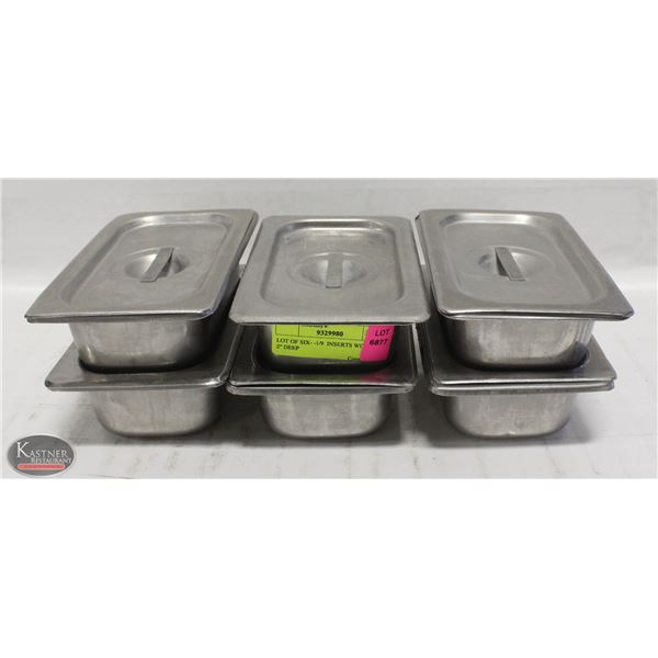"""LOT OF SIX- -1/9  INSERTS WITH LIDS 2"""" DEEP"""