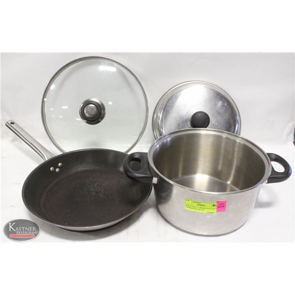 """INDUCTION 11"""" FRYING PAN AND 9"""" COOKING POT W/ LID"""