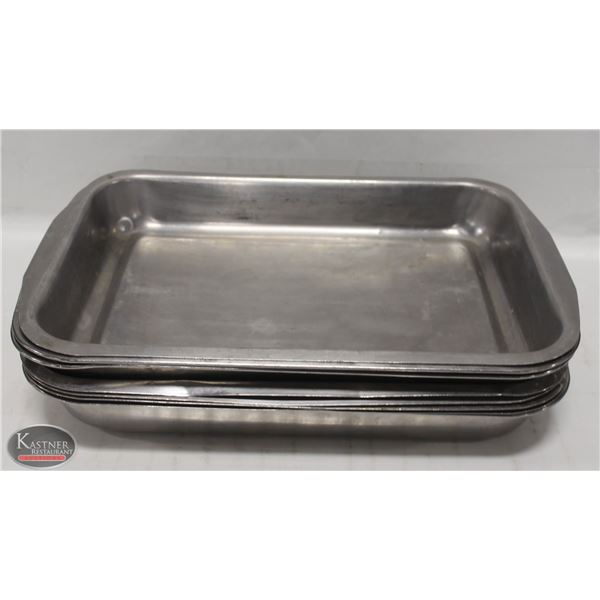 """LOT OF EIGHT 16"""" X 11"""" STAINLESS STEEL PANS -2"""""""