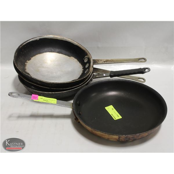 "LOT OF FOUR 10"" FRYING PANS"
