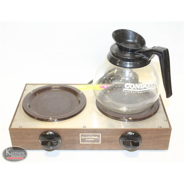 BUNN 2 BURNER WARMER W/ COFFEE CARAFE