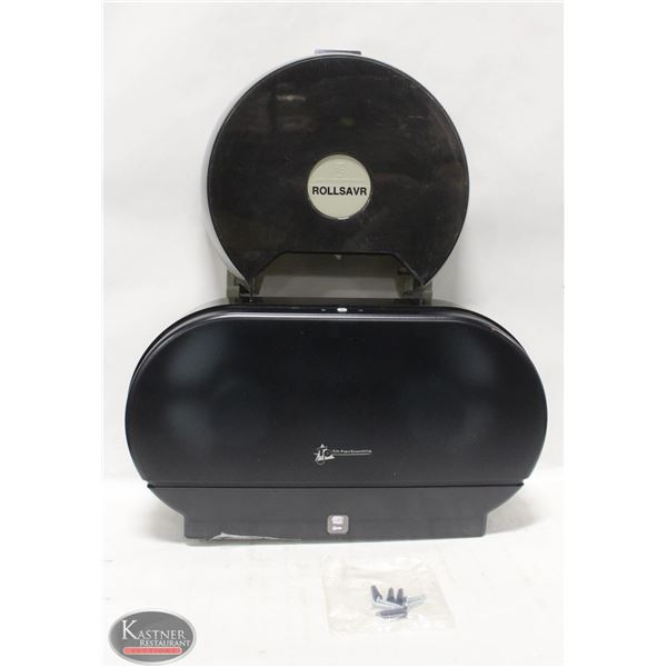 2 NEW BLACK TISSUE DISPENSERS, SINGLE & DOUBLE