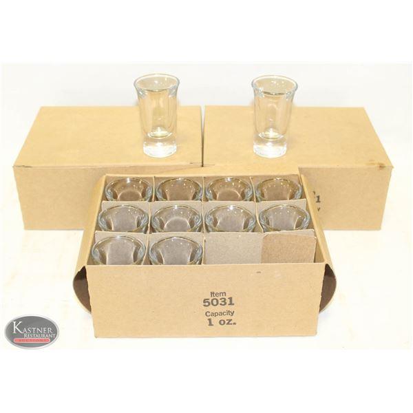 3 CASES OF NEW 1OZ SHOT GLASSES