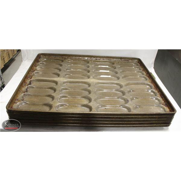 LOT OF FIVE-32 HOTDOG BUN PANS